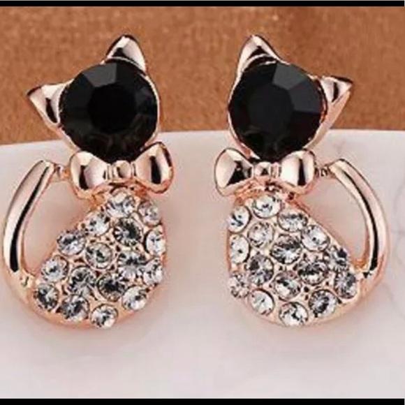 35bd5a786 Jewelry | Hp Crystal Cat Stud Pierced Earrings | Poshmark